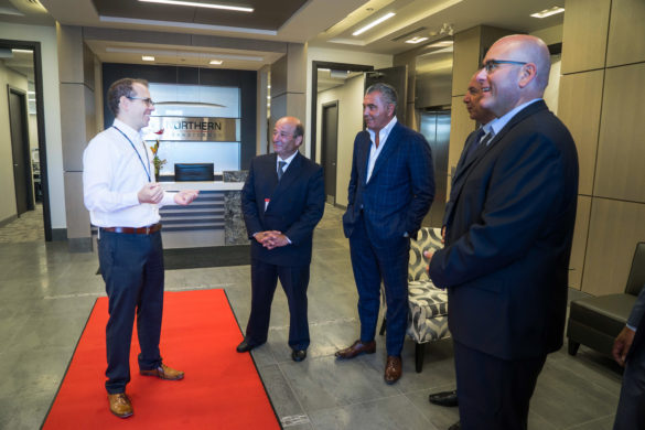 Northern Transformer CEO, Alexei Miecznikowski (left), welcomes Mayor of Vaughan and Minister of Transportation to new state-of-the-art facility